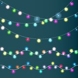 Christmas lights set, colored garlands, vector illustration