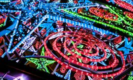 Colorful Christmas neon lights,modern decorations,Seville, Andalucia,Spain stock photography