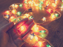 Christmas lights shaped as stars  Stock Images