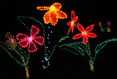 Christmas Lights shaped like Flowers Stock Images
