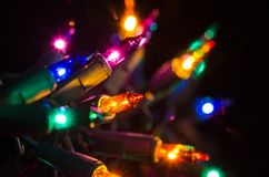 Christmas Lights Shining in the Darkness Stock Image