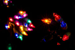 Christmas Lights Shining in the Darkness Royalty Free Stock Photos