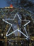 Christmas lights and shining star Stock Photo