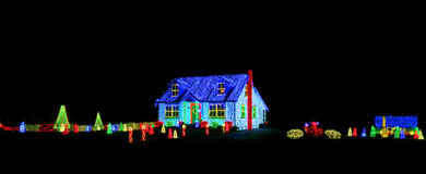 Christmas Lights Show Display on House and Yard Stock Image