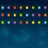 Christmas lights on sky background. Christmas lights on night sky background Royalty Free Stock Photography