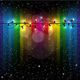 Christmas lights snow rainbow Royalty Free Stock Photo