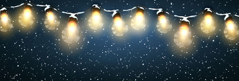 Christmas Lights With Snow. Royalty Free Stock Photography