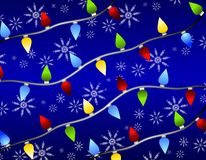 Christmas Lights Snowflakes Stock Photo