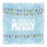 Christmas lights and snowflakes on blue background Royalty Free Stock Image