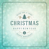 Christmas lights with snowflakes and typography Royalty Free Stock Photography
