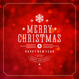 Christmas lights with snowflakes and typography Royalty Free Stock Image
