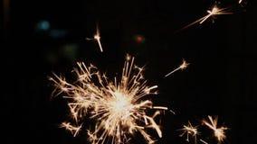 Christmas lights, sparkler stars stock video