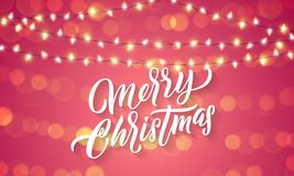 Christmas lights and sparkling light flares on Xmas holiday background. Vector Merry Christmas greeting card lettering with holida. Y glittery sparkles stock illustration