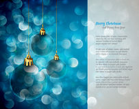 Christmas Lights and Spheres | Greeting for Poems Royalty Free Stock Photos