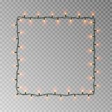 Christmas lights square vector, light string frame isolated on dark background with copy space. Tran. Sparent decorative garland border. Xmas light border effect vector illustration