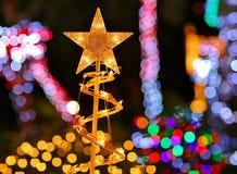Christmas Lights & Star - Decoration Lights Background Stock Photography