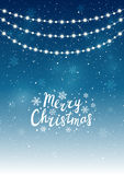 Christmas lights on starry background. Christmas lights on blue starry background Royalty Free Stock Photo