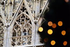 Christmas lights at Stephansdom, Vienna Royalty Free Stock Photos