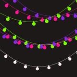 Christmas lights strings. Vector flat Xmas garland. Festive garlands set.  royalty free illustration