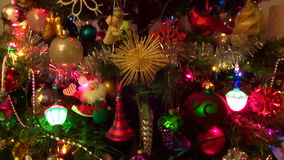 Christmas Lights on a Tall Tree stock video footage