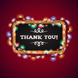 Christmas Lights Thank You Banner Royalty Free Stock Photography
