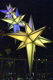 Christmas lights in Time Warner Building Royalty Free Stock Images