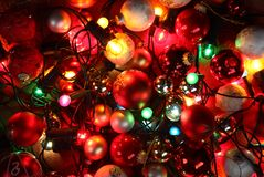 Christmas lights. Top view of Christmas lights and ornaments royalty free stock photography