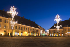 Christmas lights on town street and square Royalty Free Stock Photos