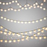 Christmas lights on transparent background. Vector xmas glowing garland. royalty free illustration