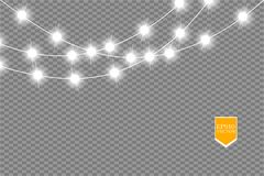 Christmas lights on transparent background. Xmas glowing garland. Vector illustration stock illustration