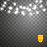 Christmas lights on transparent background. Xmas glowing garland. Vector illustration stock illustration