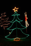 Christmas Lights - Tree with Star and Soldier Stock Photography