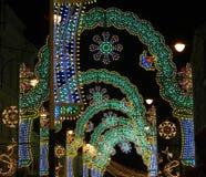 Christmas lights tunnel Royalty Free Stock Photo