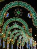 Christmas lights tunnel Stock Photo