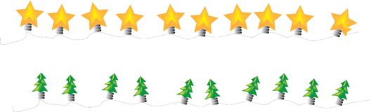Christmas lights. Two lines of Christmas lights in star and tree shapes Stock Photography