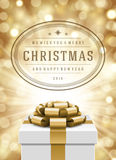 Christmas lights and typography label design gift Stock Photo