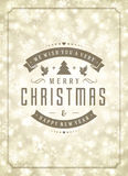 Christmas lights and typography label design. Vector background. Greeting card or invitation and holidays wishes Royalty Free Stock Image