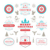Christmas lights and typography label design. Vector background. Greeting card or invitation and holidays wishes Stock Photography
