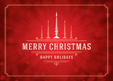 Christmas lights and typography label design Stock Images