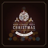 Christmas lights and typography label design Royalty Free Stock Photos