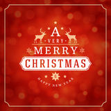 Christmas lights and typography label design Royalty Free Stock Photo