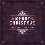 Christmas lights and typography label design Royalty Free Stock Photography