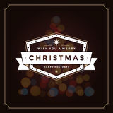 Christmas lights and typography label design Royalty Free Stock Images