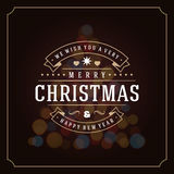 Christmas lights and typography label design Royalty Free Stock Image