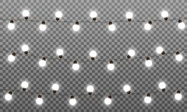 Christmas lights vector effects. LED lamps garland for New Year and Xmas. Isolated white lights vector garlands.  vector illustration