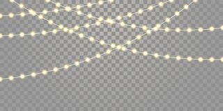 Christmas lights vector isolated strings for holiday celebration Xmas, birthday, festival lamp lights on transparent background