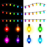 Christmas lights vector set Royalty Free Stock Images