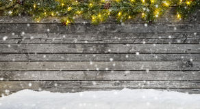 Christmas Lights With Decoration On Wood Royalty Free Stock Photography