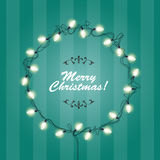 Christmas Lights wreath frame - round festive lights Stock Photos