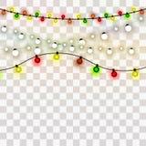 Christmas lights. Xmas and New Year greeting card elemets. Vector illustration stock illustration